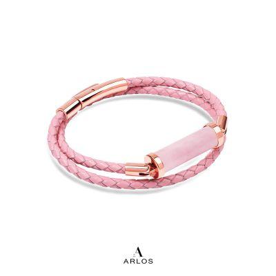 粉晶CC皮繩 (雙圈)