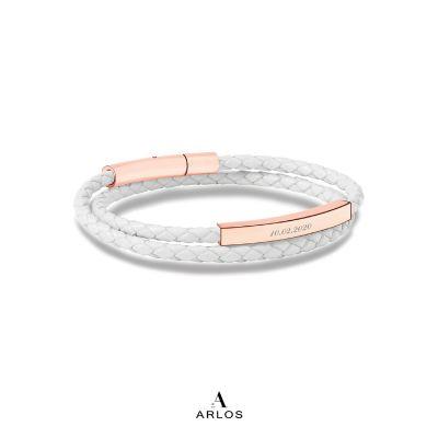 Le Tien 雙層皮革手環 - 白色