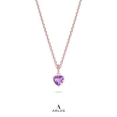 La Joie 玫瑰金紫水晶心型頸鏈