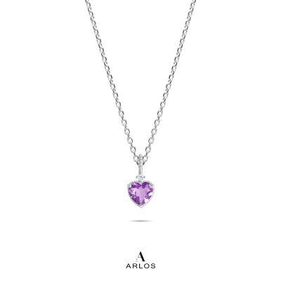 La Joie 純銀紫水晶心型頸鏈