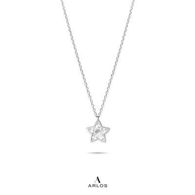 L'amour 閃爍星星頸鏈 - 純銀