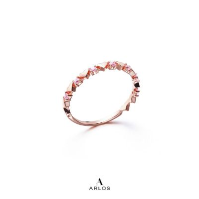愛心粉紅碧璽寶石戒指
